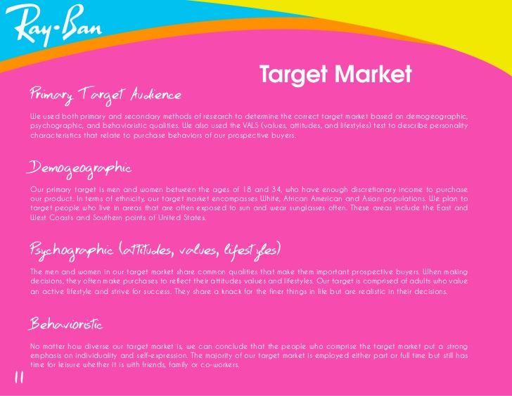 sunglasses target group   Personality characteristics