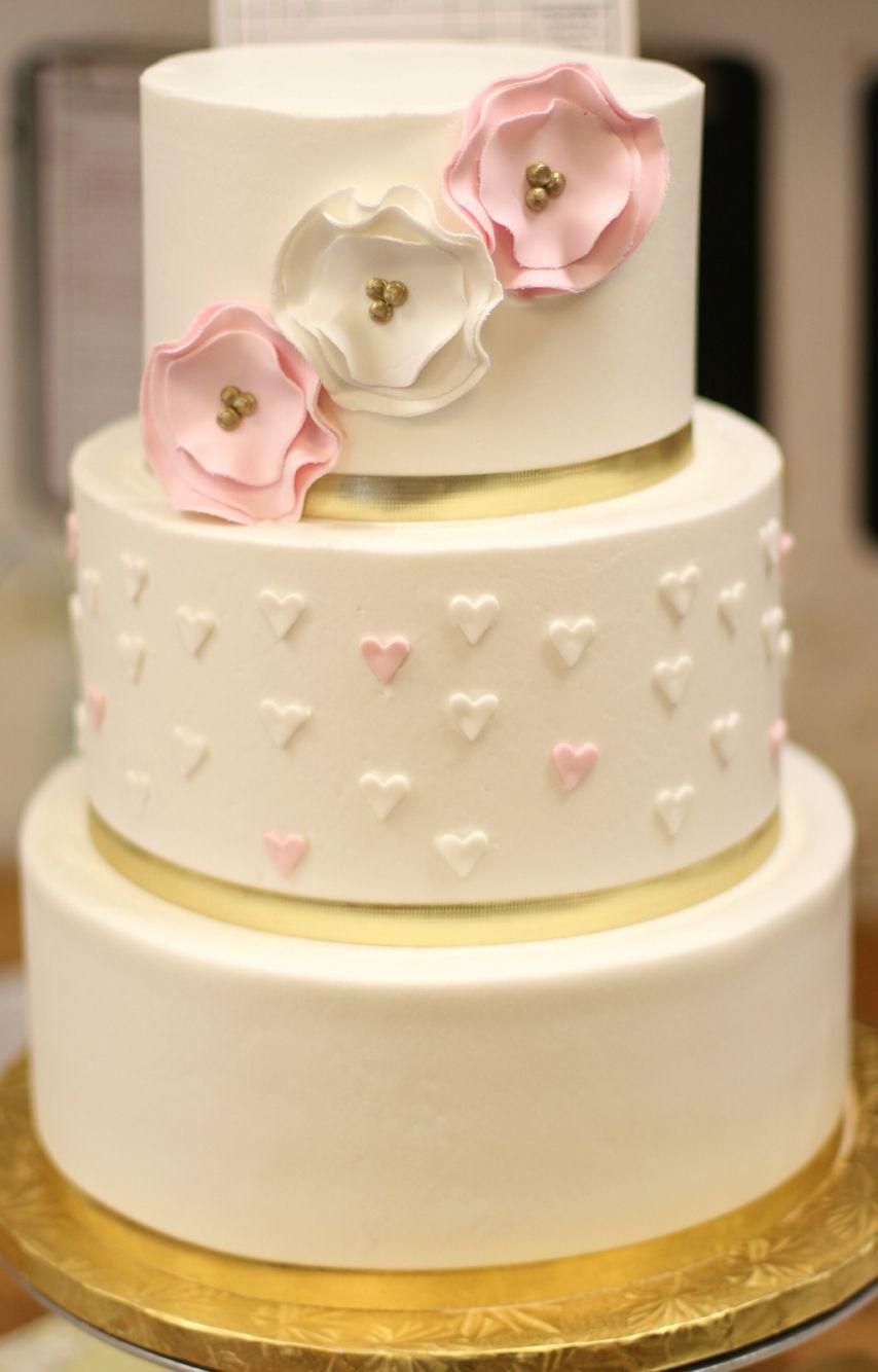 great dane bakery wedding cake gold and blush hearts