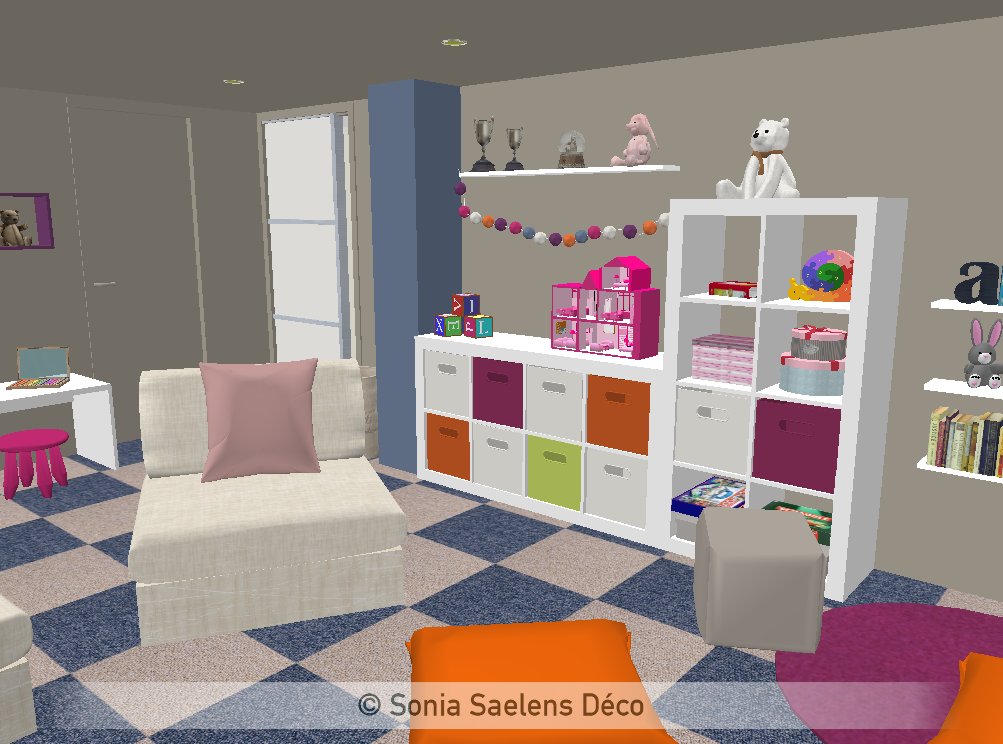 projet client un sous sol am nag en salle de jeux. Black Bedroom Furniture Sets. Home Design Ideas
