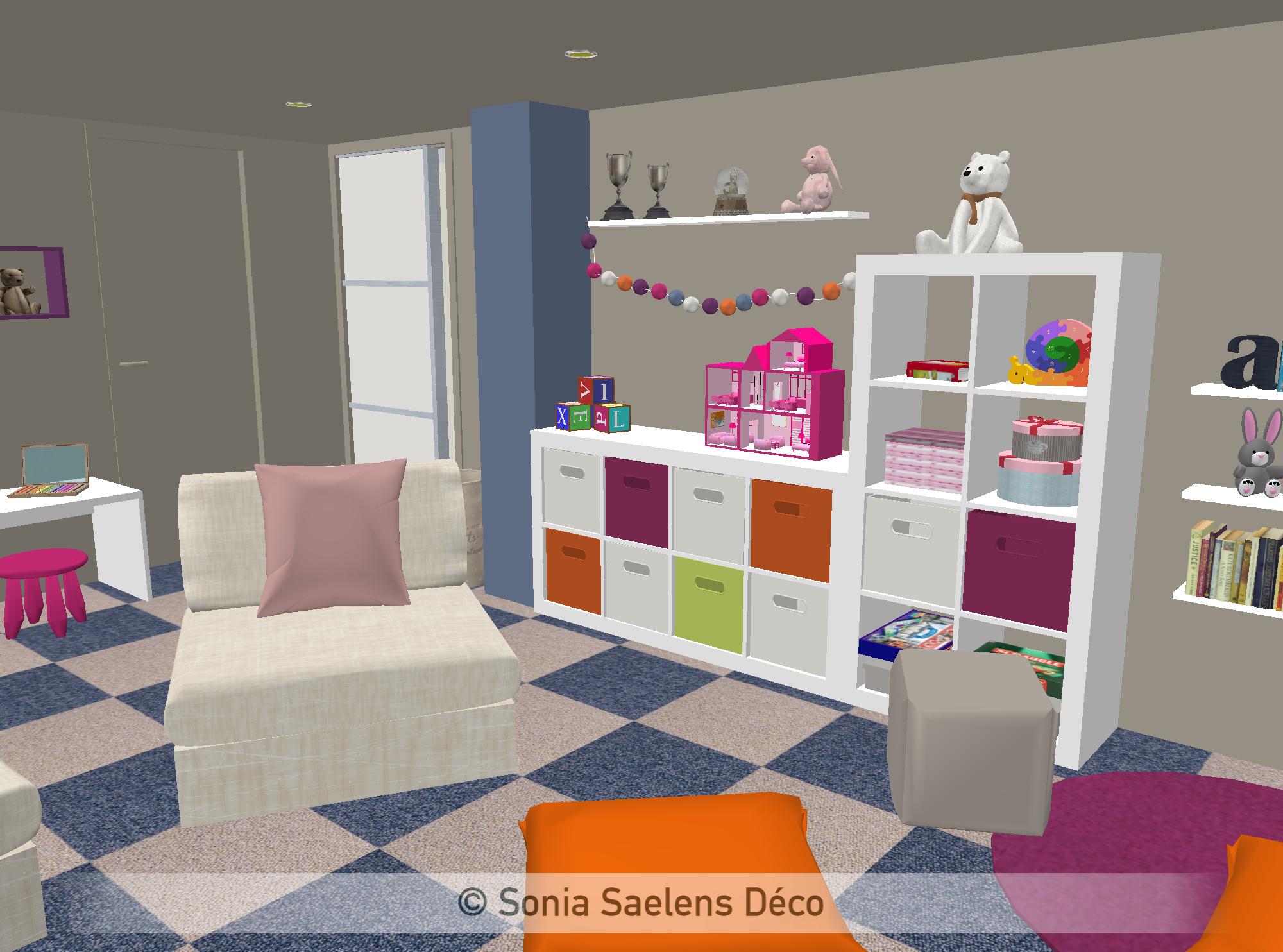 projet client un sous sol am nag en salle de jeux sonia saelens d co projets pro sonia. Black Bedroom Furniture Sets. Home Design Ideas