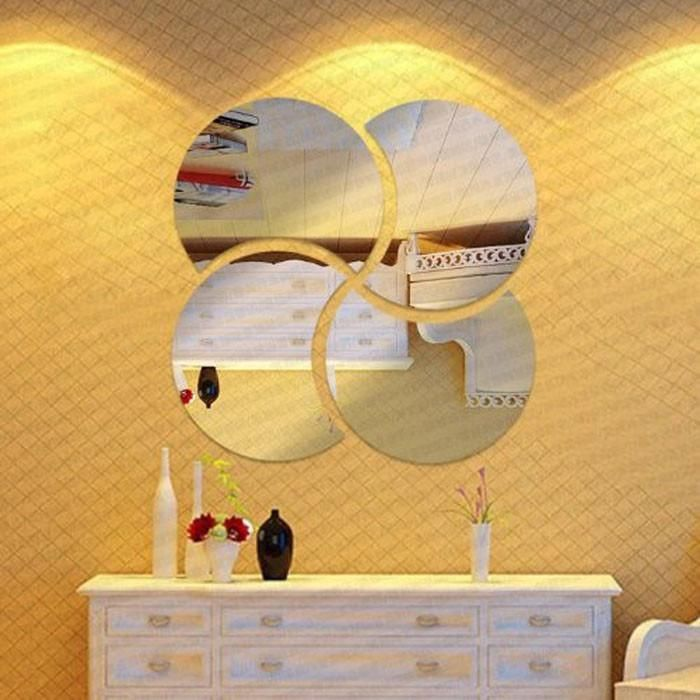 3D Circles Mirror Puzzle Home Decor Bell Cool Mirrors Wall Stickers ...