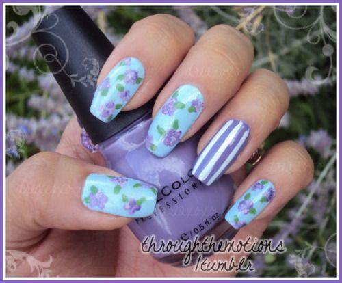 Base: Avon .:. Vintage Blue(Ring): Sinful Colors .:. Verbena  Flowers: Sinful Colors .:. Verbena, Sinful Colors .:. Nail Art-Bad Chick, Diamond Cosmetics .:. Nail Art-Purple Shimmer, Nubar.:. Green Tea  Stripes: Sinful Colors .:. Nail Art-Bad Chick  (Rose Nails) (Floral Nails)