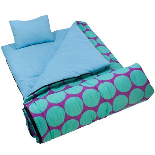 Wildkin Dots Aqua Sleeping Bag Kids Bags