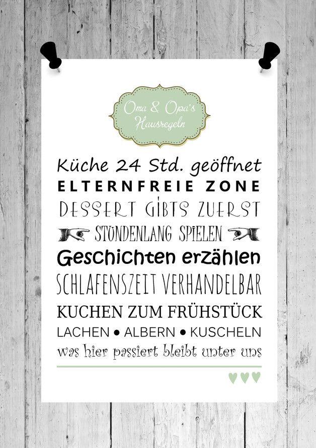 Fine art druck bild oma opa 39 s hausregeln print omas - Weihnachtsgeschenke selber machen fa r oma und opa ...