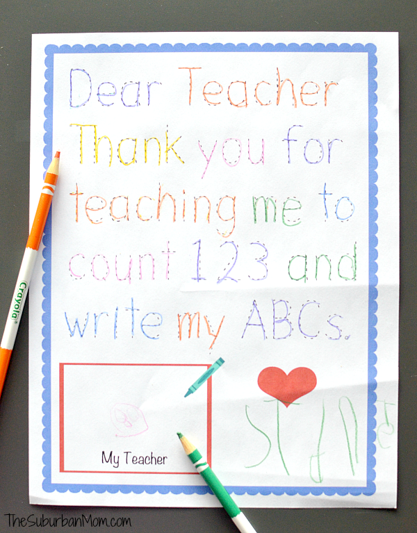 Traceable Preschool Teacher Thank You Note  Preschool Teacher
