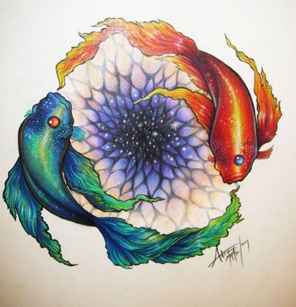 Yin fish yang fish by sirenophilia prismacolor pencils on for Yin yang fish