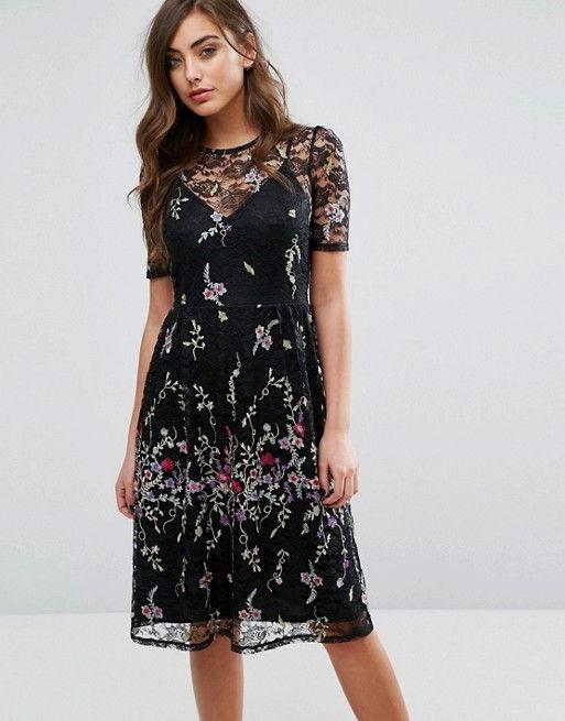 Miss Selfridge Lace Yolk Folk Embroidered Midi Dress | Tops | Pinterest