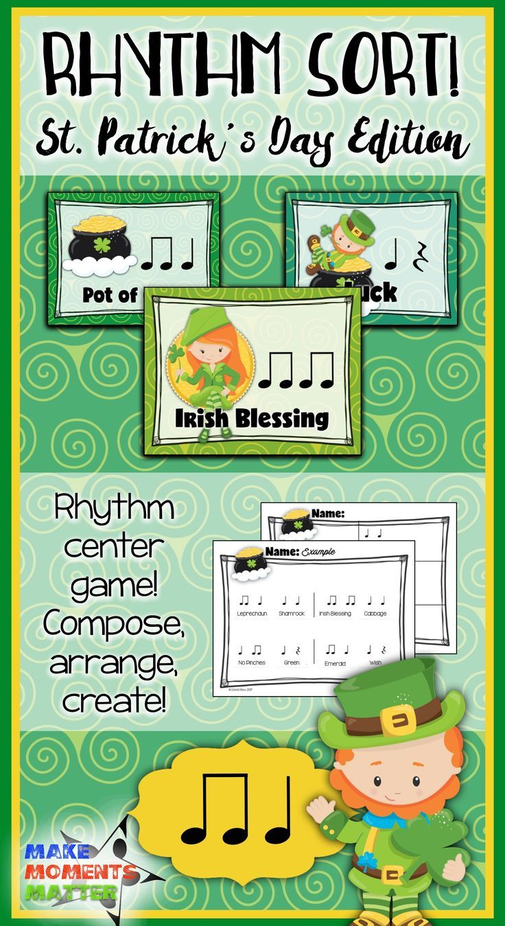Find The Rhythms Of Some Our Favorite St Patrick S Day Items Like Gold Shamrocks Leprechauns Ireland And Rainbow In This Set You Ll Rhythm