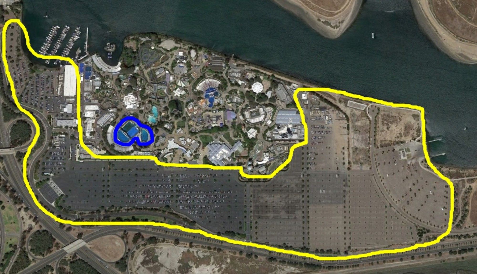 The yellow line is the size of Sea World parking lot. The blue ...