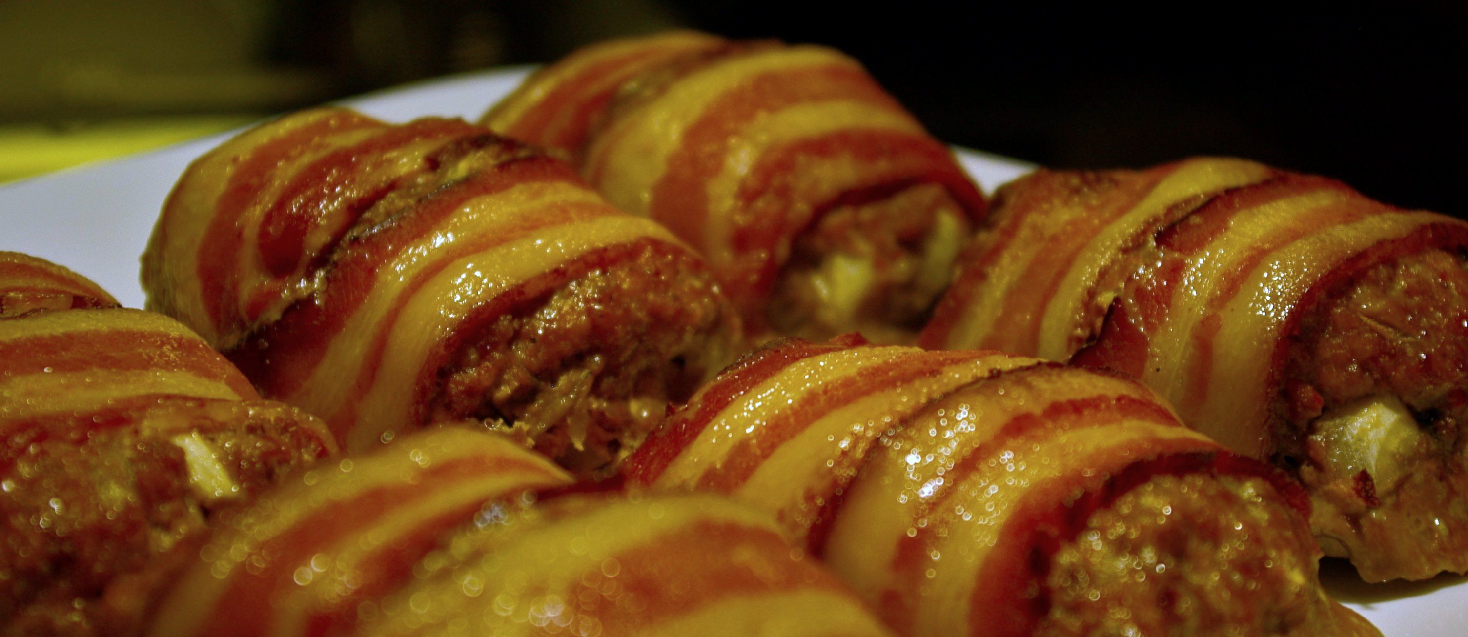 bacon-wrapped mini-meatloaf  Oh and there's a great tomato sauce recipe in there as well!