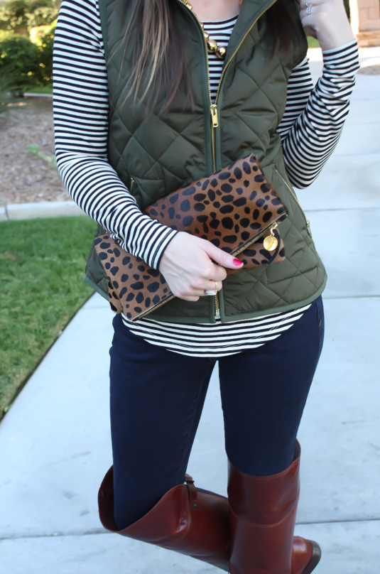 83f7ebd2 Army Green Quilted Vest, Striped Tee, Dark Wash Skinny Jeans, Over the Knee  Boots, Leopard Fold Over Clutch, Old Navy, Banana Republic, Frye Boots, ...