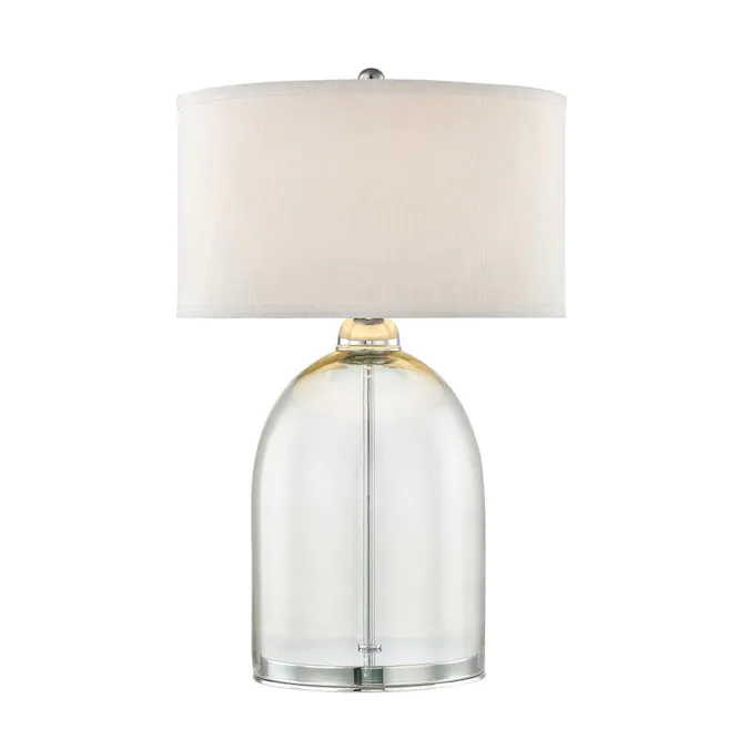 Scott Living 24 75 In Chrome Clear Glass Table Lamp With Fabric Shade Lowes Com In 2021 Clear Glass Table Lamp Glass Lamp Base Clear Glass Lamps