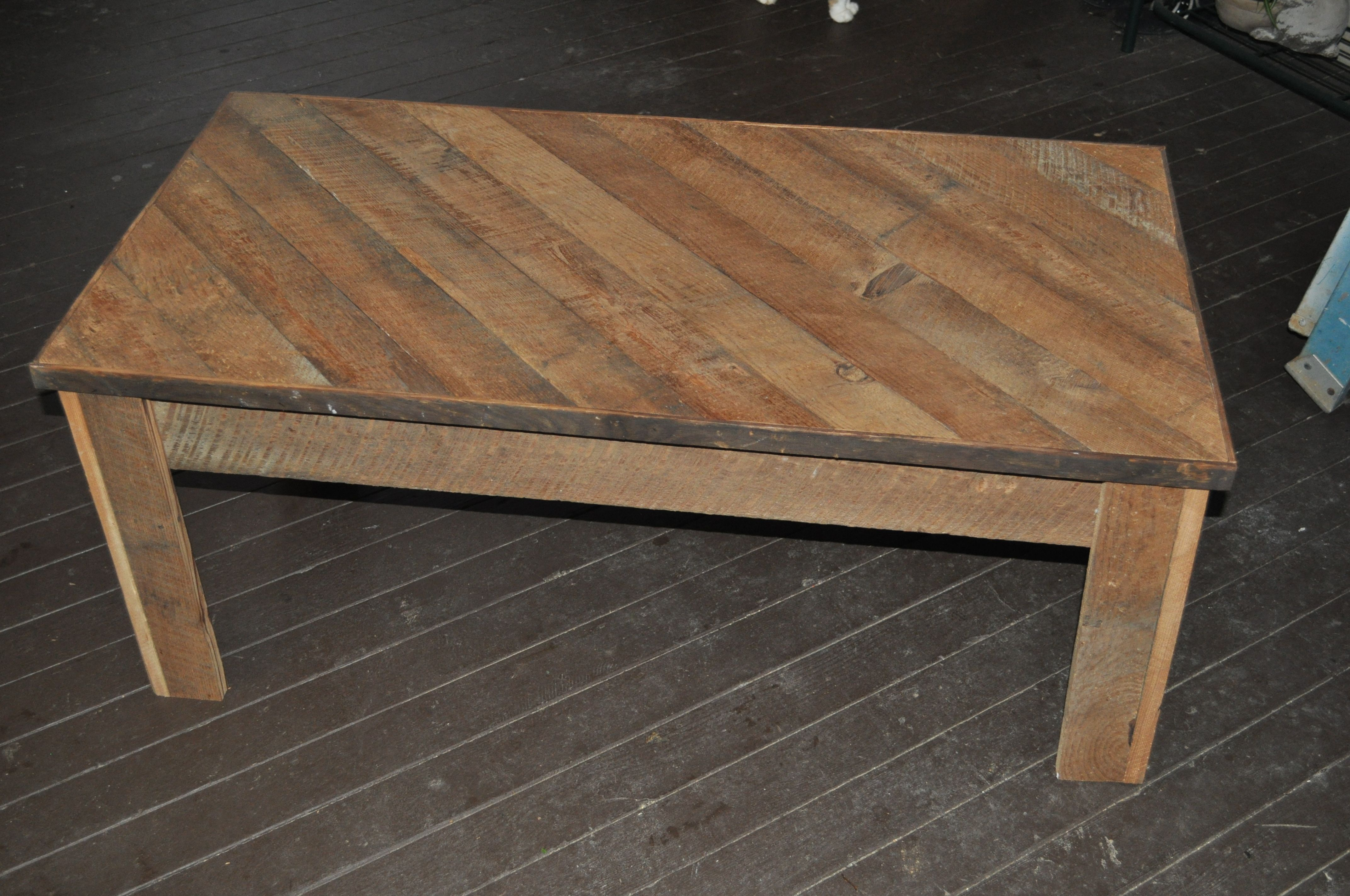 Coffee table made from tongue and groove wall boards i turned them upside down