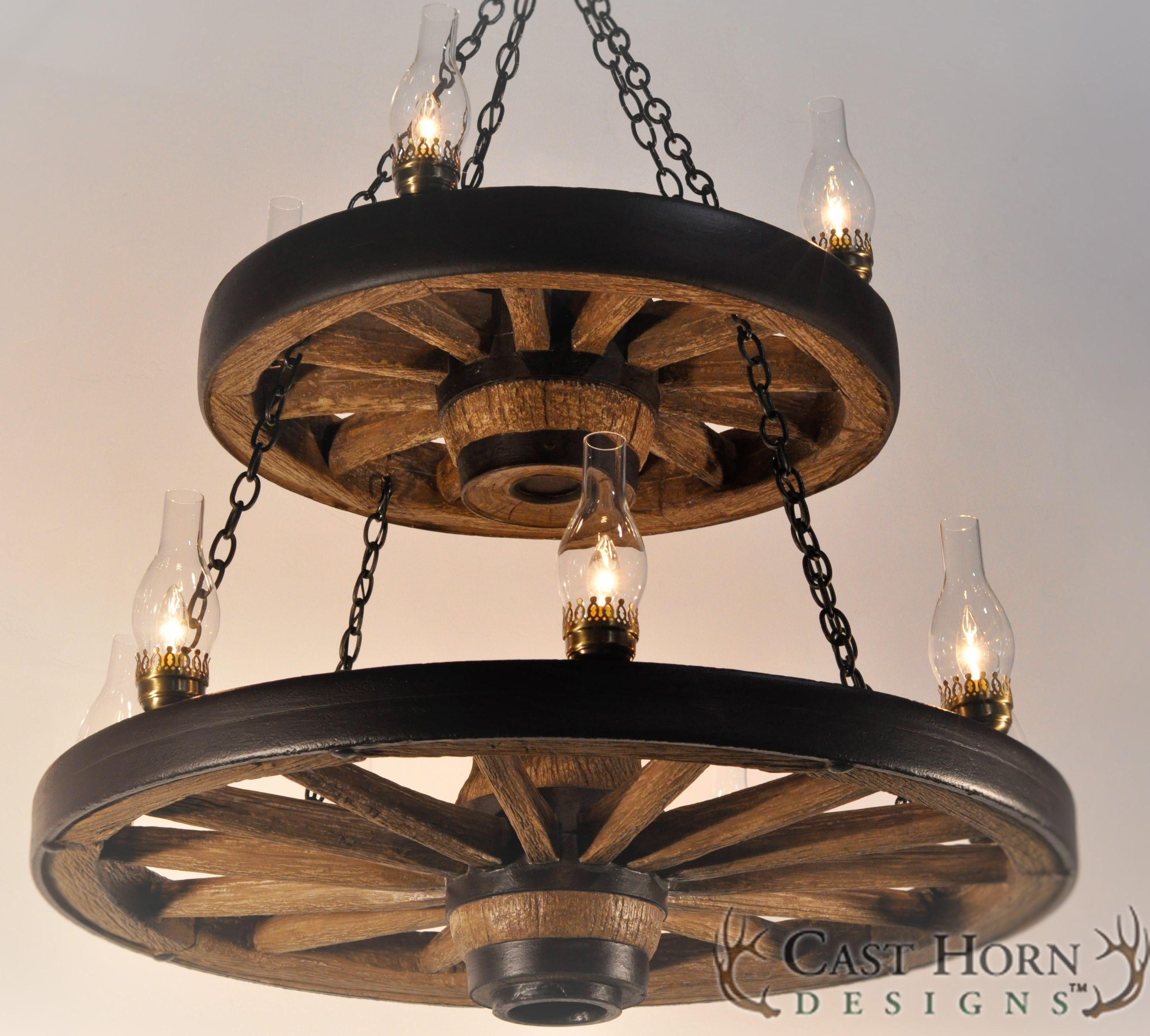 Double Wagon Wheel Chandelier by Cast Horn Designs  Wagon