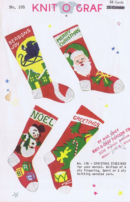 Knit-O-Graf Christmas Stocking Knitting Pattern. $55.00, via Etsy ...