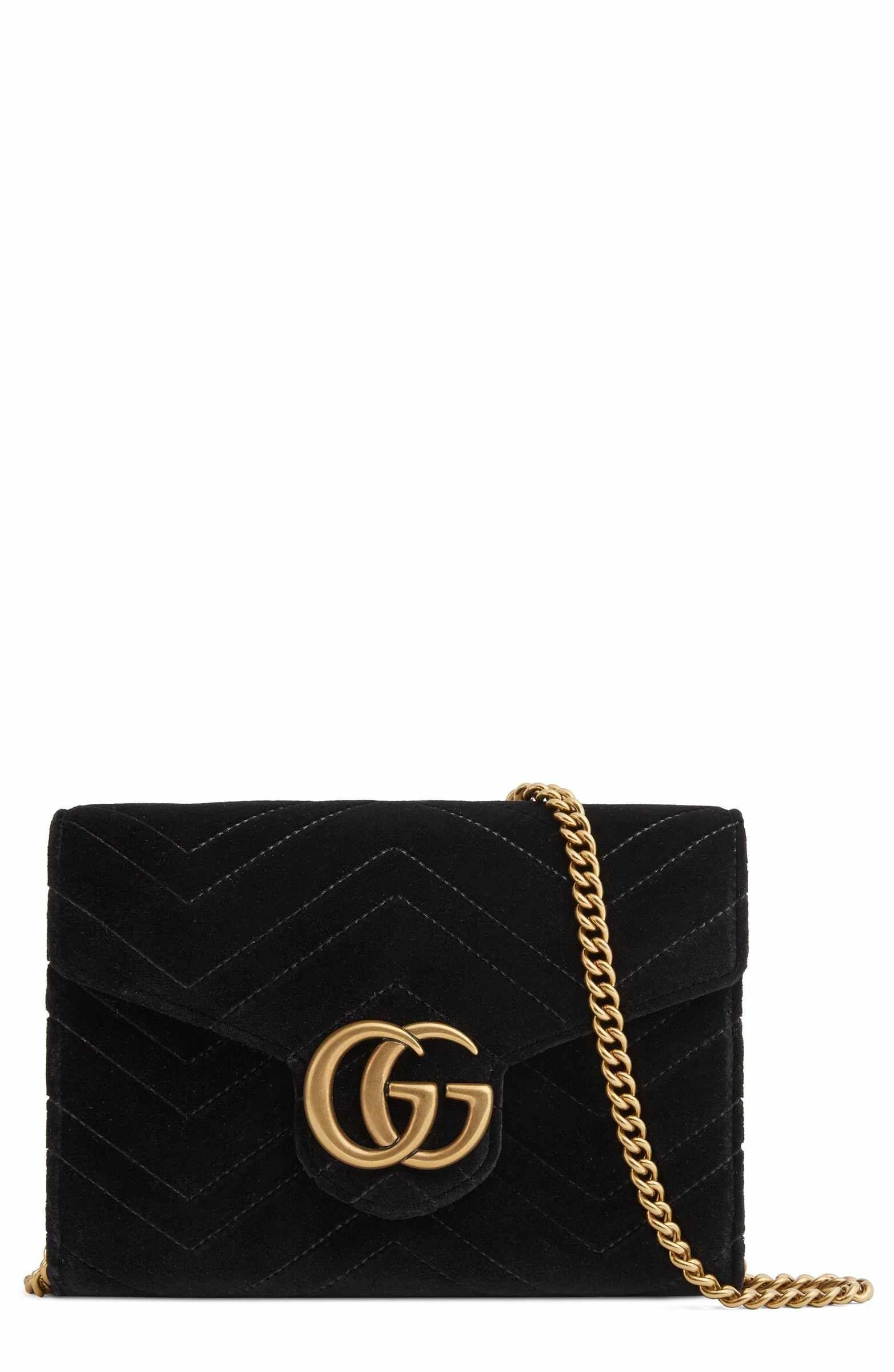 55c2e049a28 Main Image - Gucci GG Marmont 2.0 Matelassé Velvet Wallet on a Chain ...