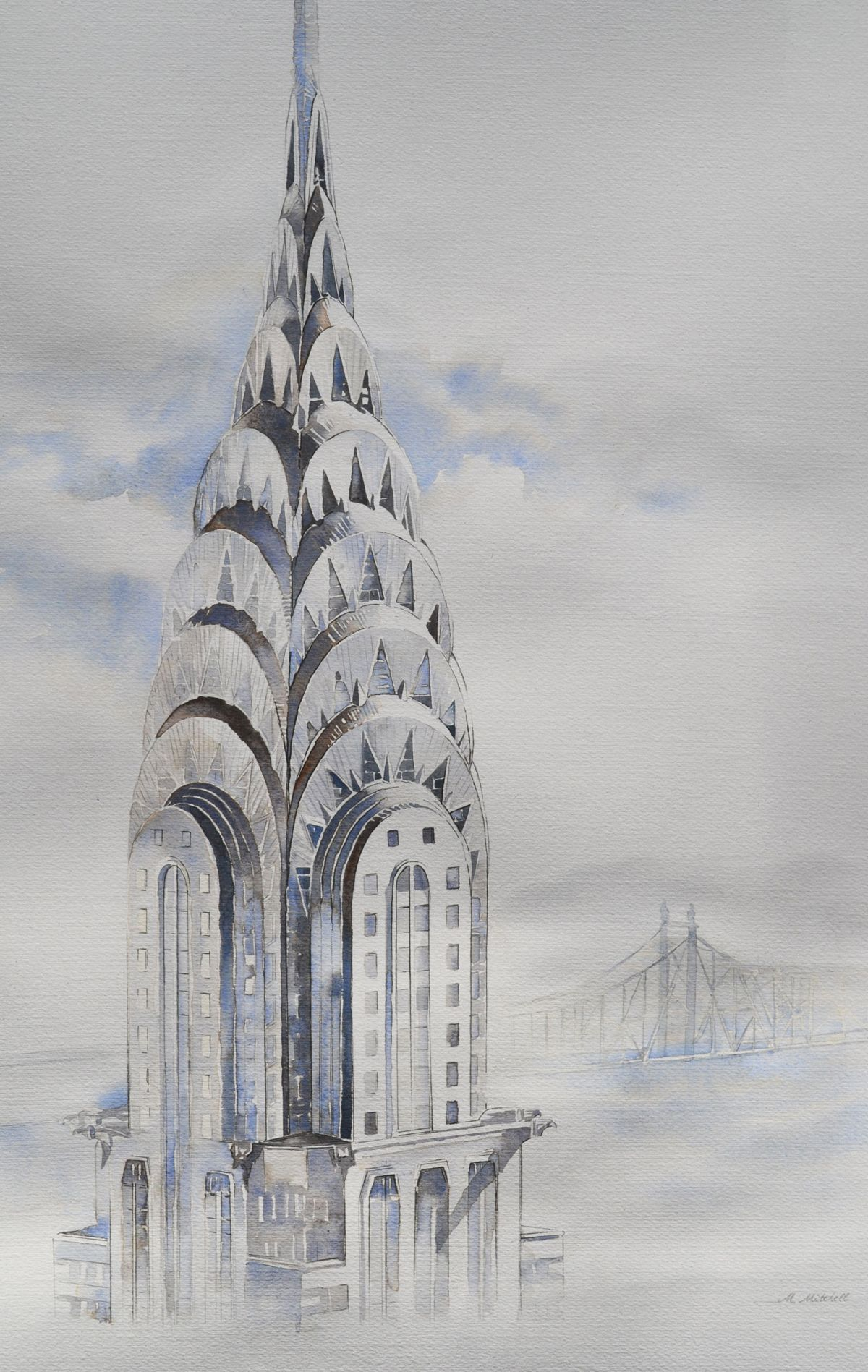 Watercolor Painting Of The Chrysler Building In Nyc Building Art