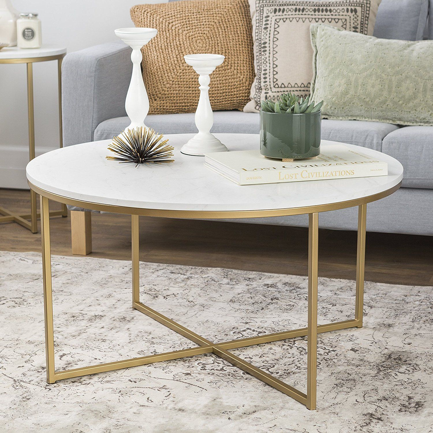 "Amazon WE Furniture 16"" Round Side Table Marble Gold"