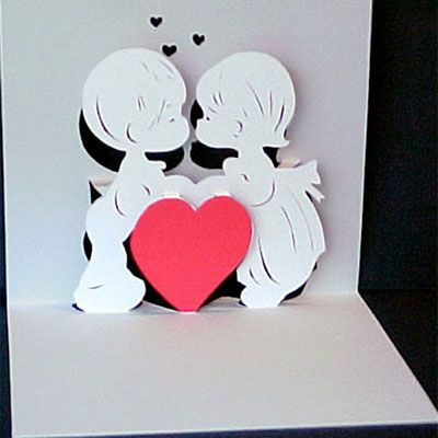 Valentines Day Valentine Kiss Pop Up Card Paper Model by – Valentines Pop Up Card