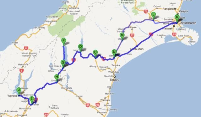 Map Christchurch to Wanaka | New Zealand | Pinterest | New Zealand ...