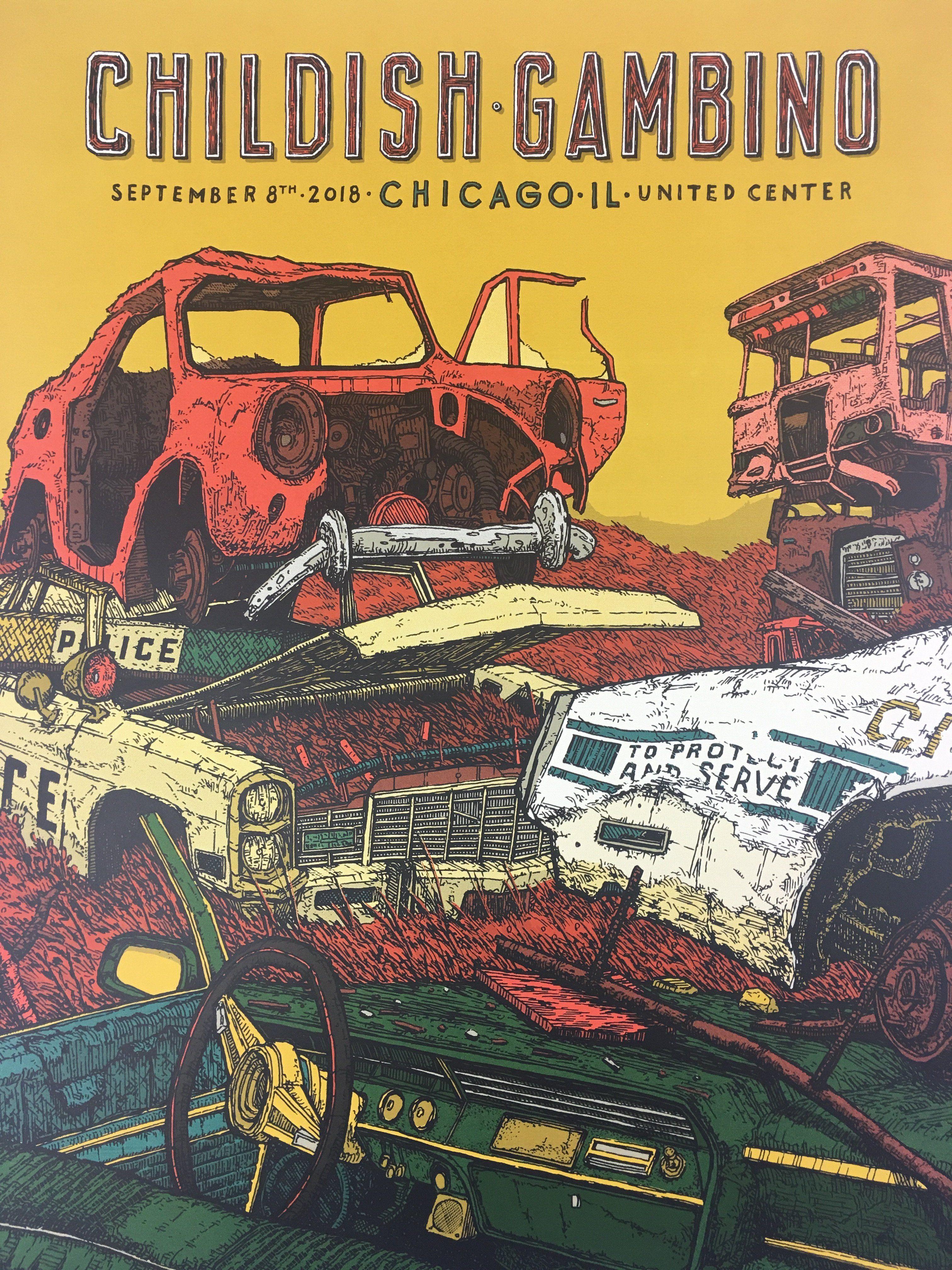 Childish Gambino - 2018 Landland Poster Chicago, IL United Center