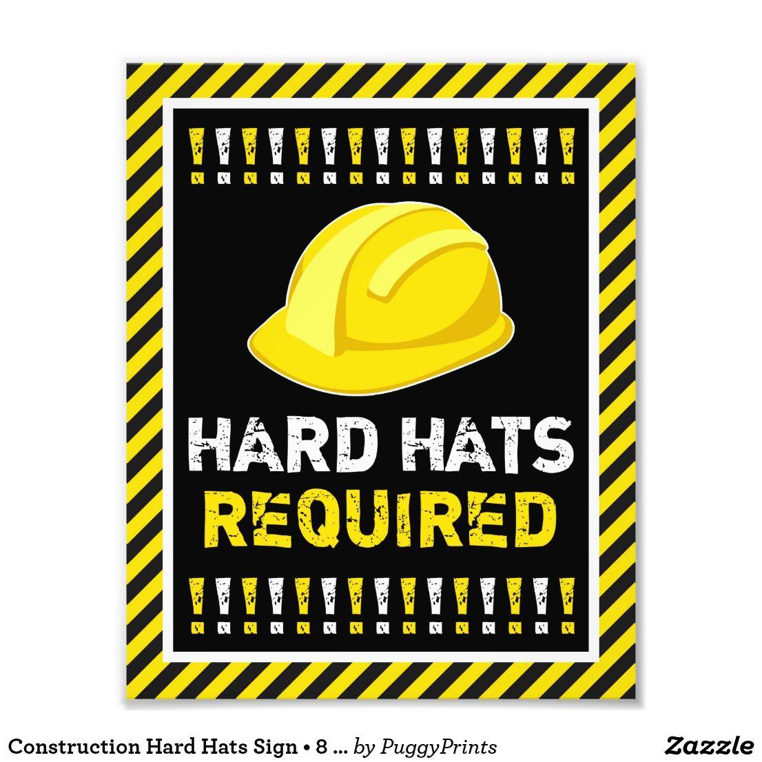 Construction hard hats sign 8 x 10 print