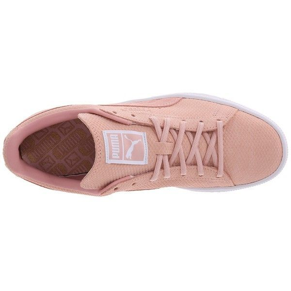size 40 8c77d 440ed PUMA The Suede Classic Lo Winterized (Coral Cloud Pink Bronze) Womens...  ( 46) ❤ liked on Polyvore featuring shoes, sneakers, coral pink shoes, pink  shoes, ...