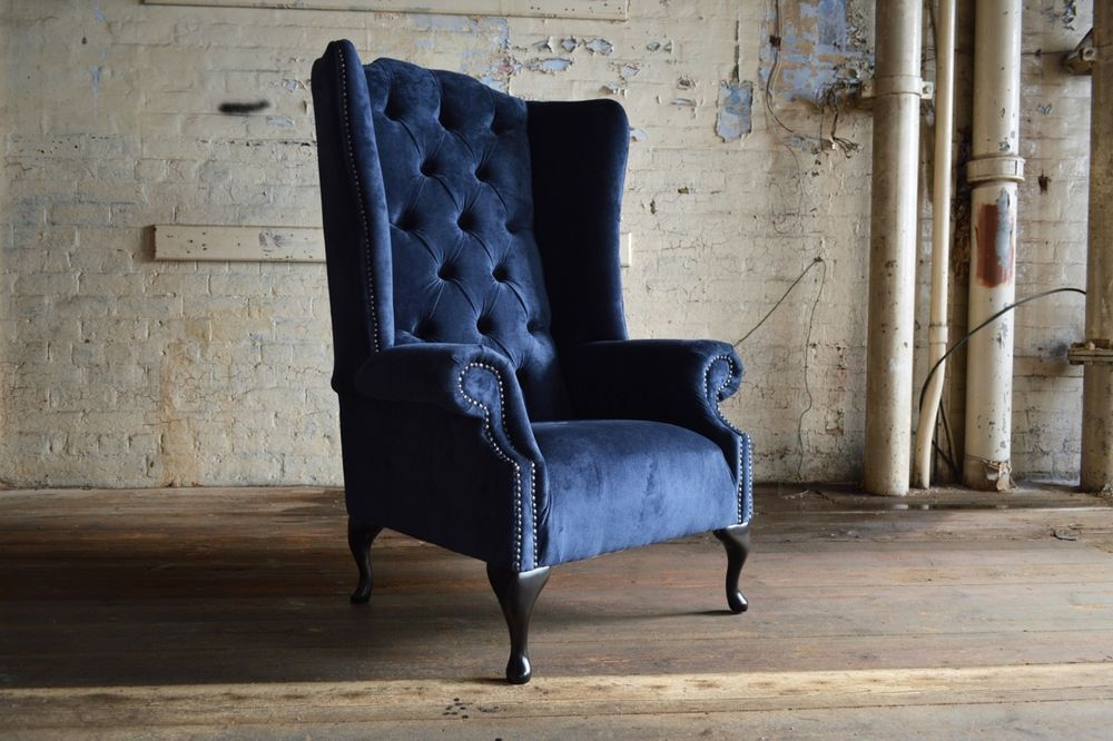 Modern Queen Anne Chesterfield Wing Arm Chair Extra High Back Navy
