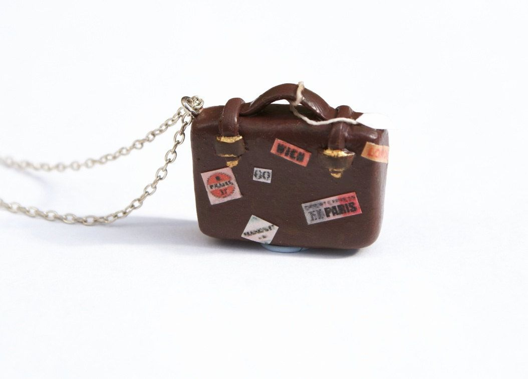 Travel Suitcase Necklace, travel stickers, polymer pendant, 16 inch chain. £16.00, via Etsy.