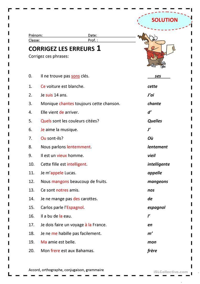 Corrigez les erreurs 1 (avec images) | Fle