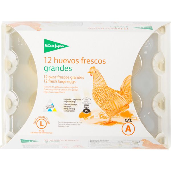 428ff0742bb6 EL CORTE INGLES huevos clase L estuche 1 docena-Tu Supermercado ...