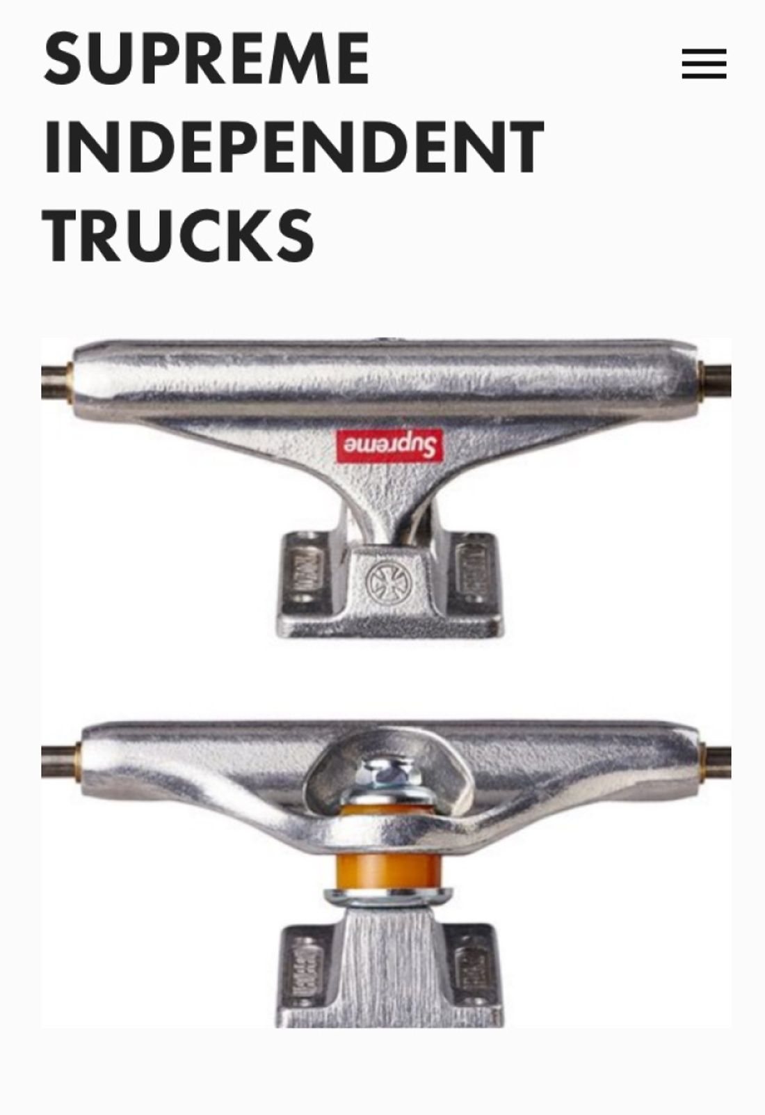 save off d740b 8ff9d Supreme Supreme® Independent® Trucks Size  139 FW16 Size ONE SIZE