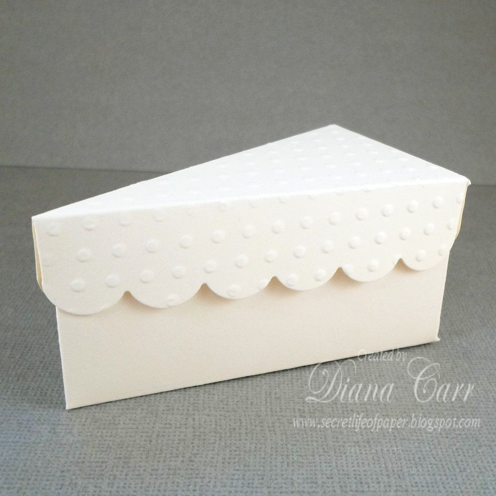 Ivory Wedding Favor Cake Box Paper Slice of by AcarrdianCards ...
