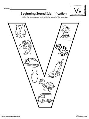 Letter V Beginning Sound Color Pictures Worksheet Alphabet Worksheets Kindergarten Preschool Letters Letter V