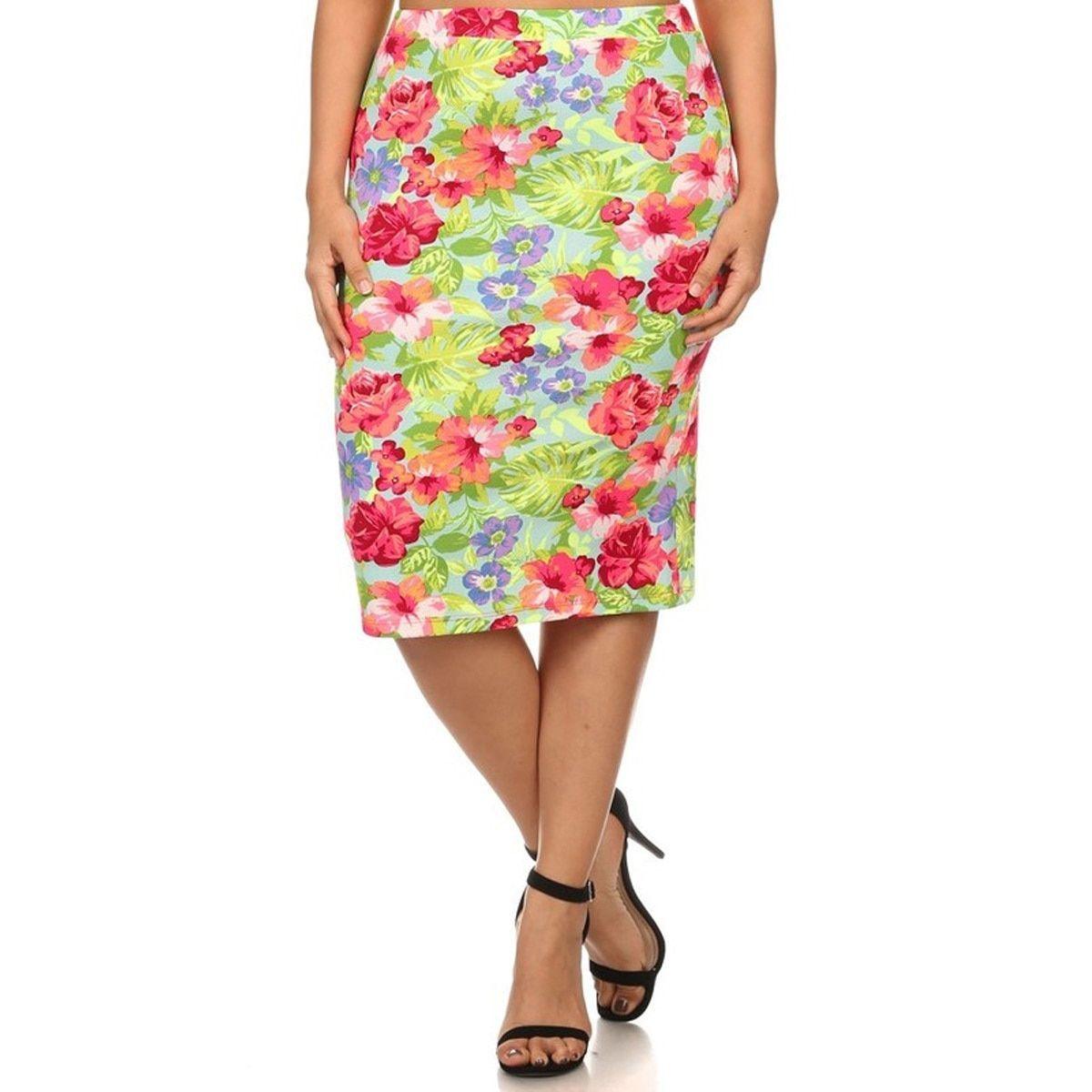 c292c51c65e MOA Collection Women s Plus-size color and Spandex Skirt