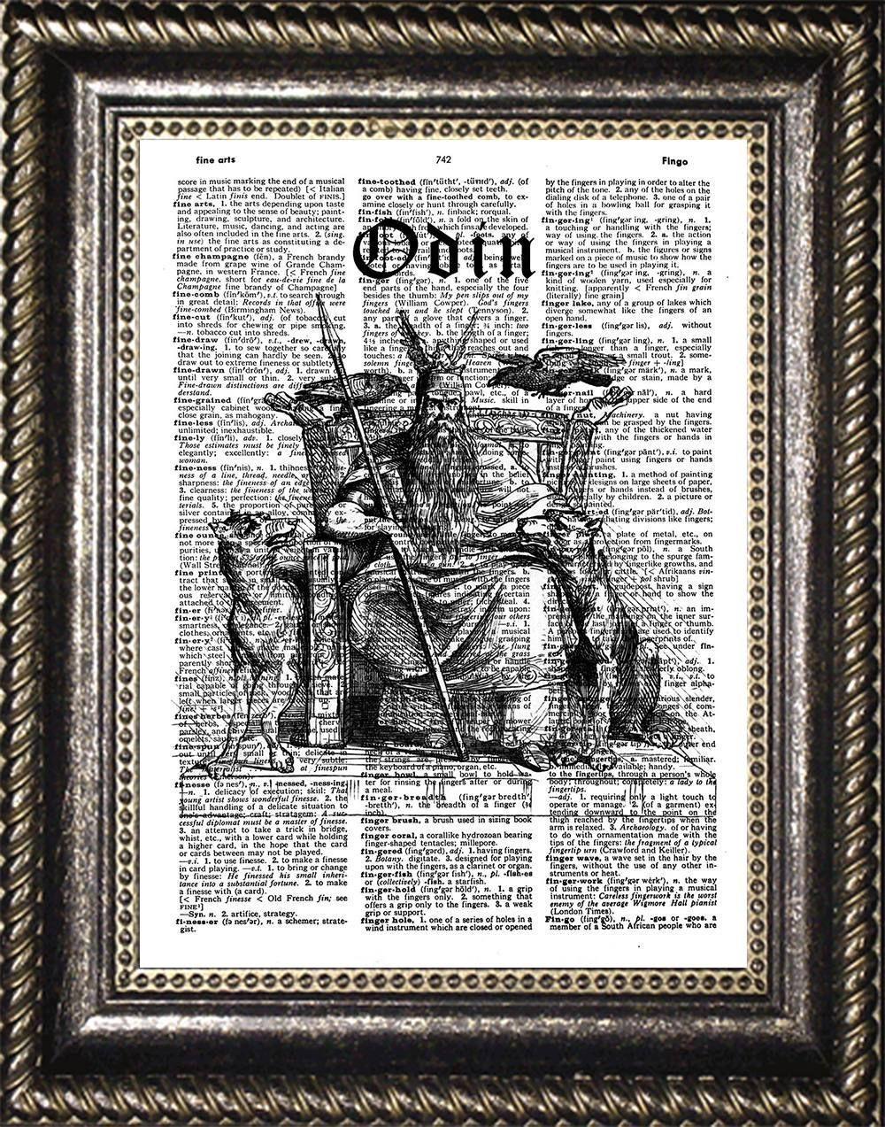 Odin Dictionary Art Print, Norse Mythology Wall Art, Odin ...
