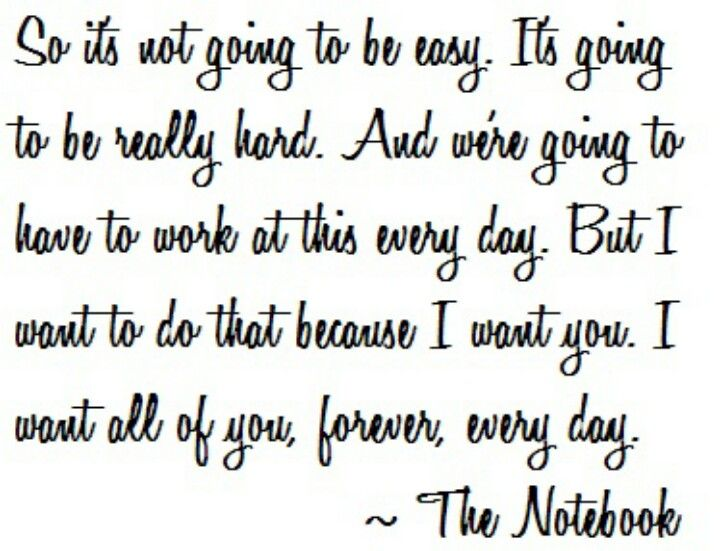 Its Not Going To Be Easy The Notebook Word Quotes The Notebook