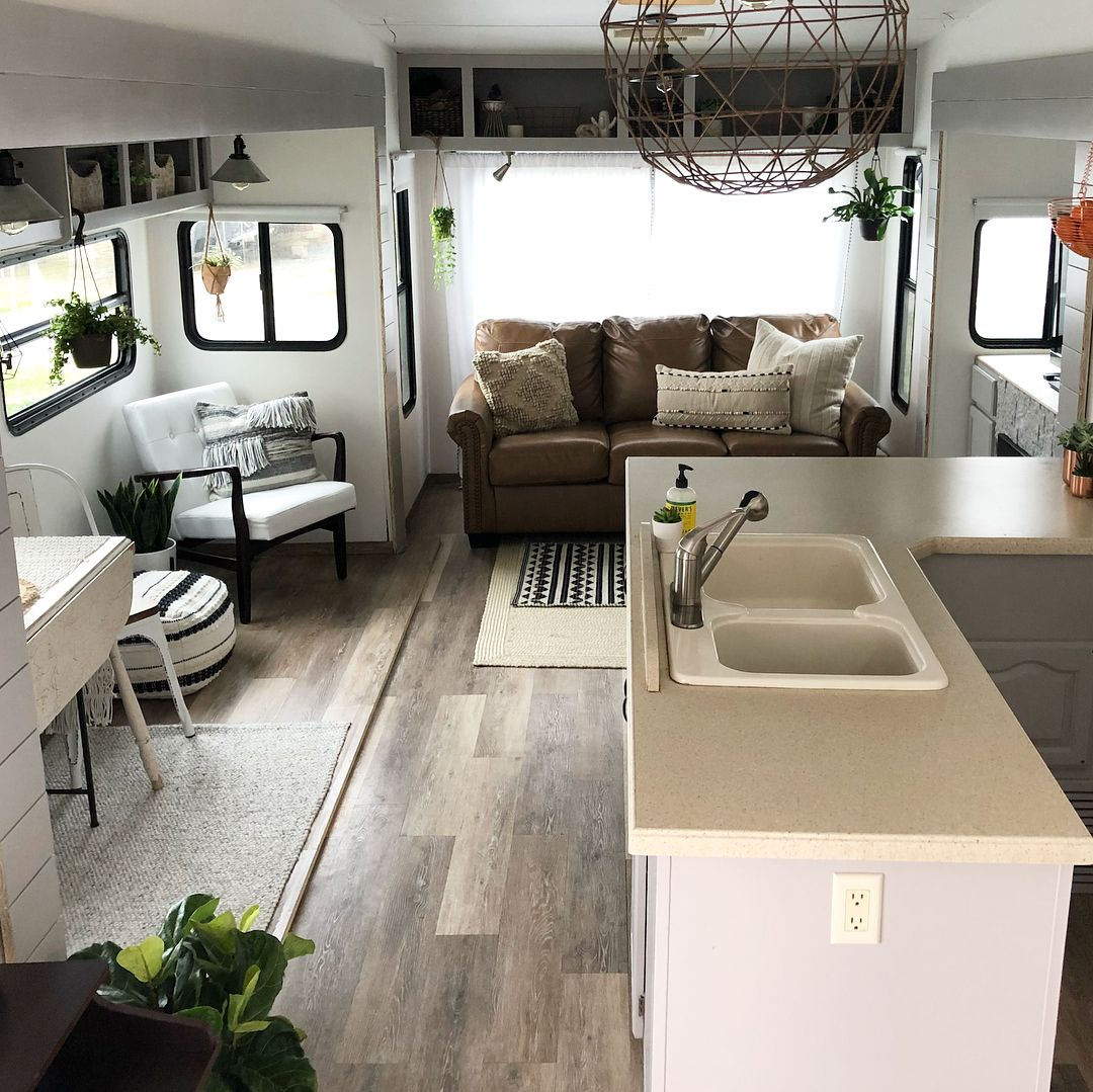 Camper Remodel Fifth Wheel Renovation Rv Living Room Boho Decor