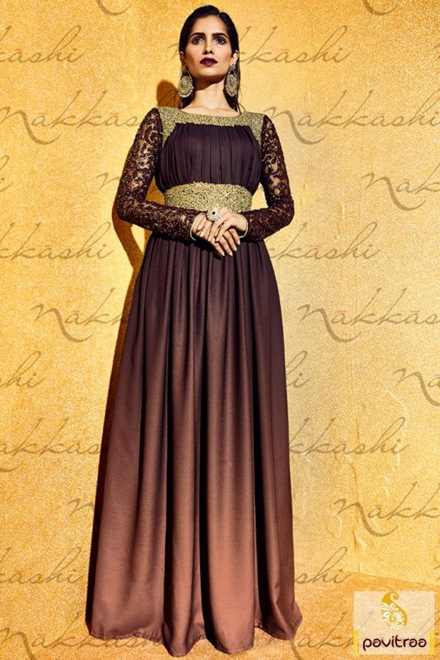 4c1e17cb7a32 Dashing style coffee color santoon net anarkali bridal salwar suit is very  fancy and most selling