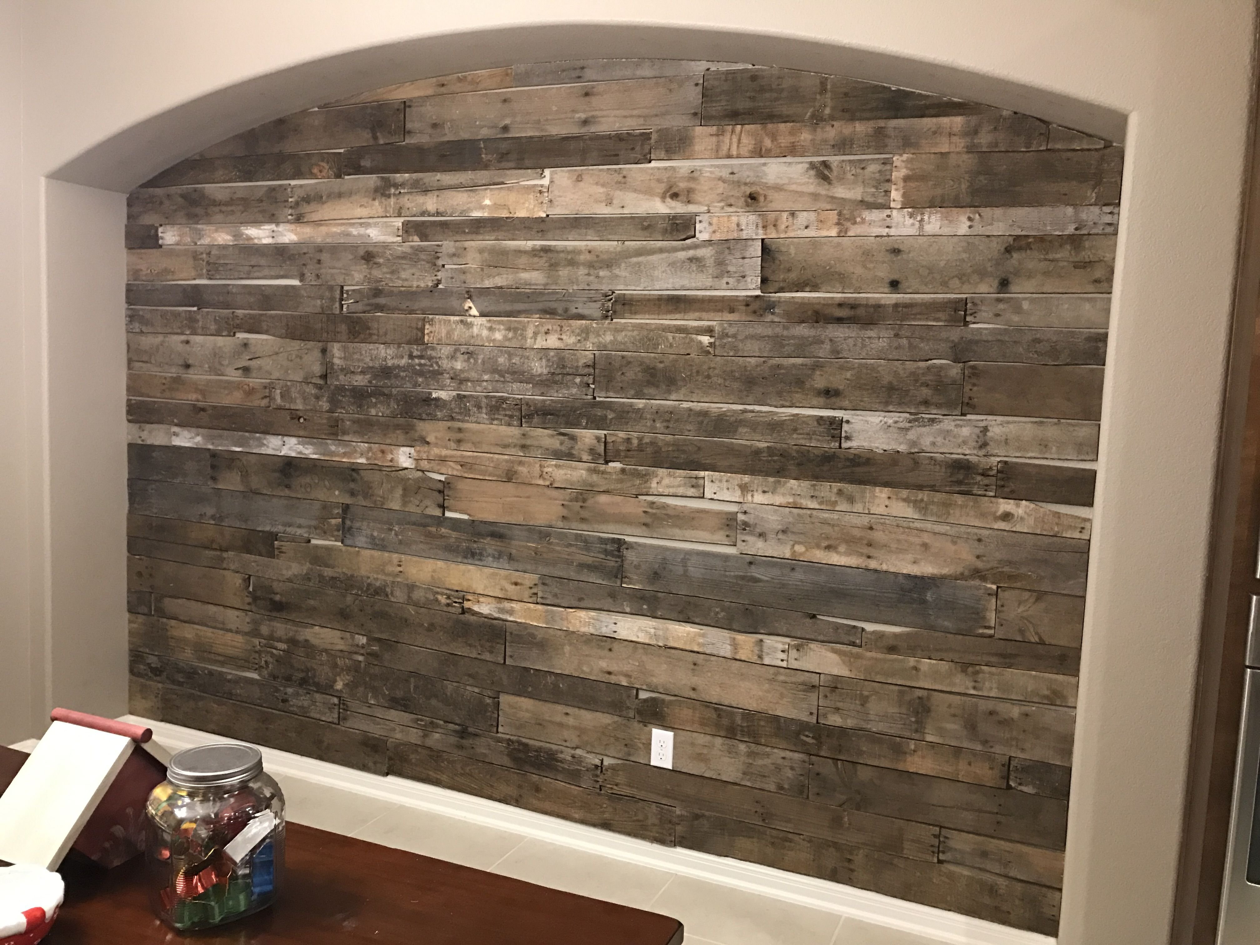 Pallet Wall In Kitchen I Love How It Turned Out Pared Reciclar