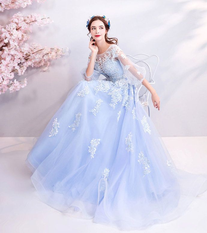 446cd838556e Fashion Long Sleeve Light Sky Blue A Line Prom Dress Embroidery Beaded Prom  Party Gowns Lace Up Formal Evening Party Dress by prom dresses, $181.91 USD