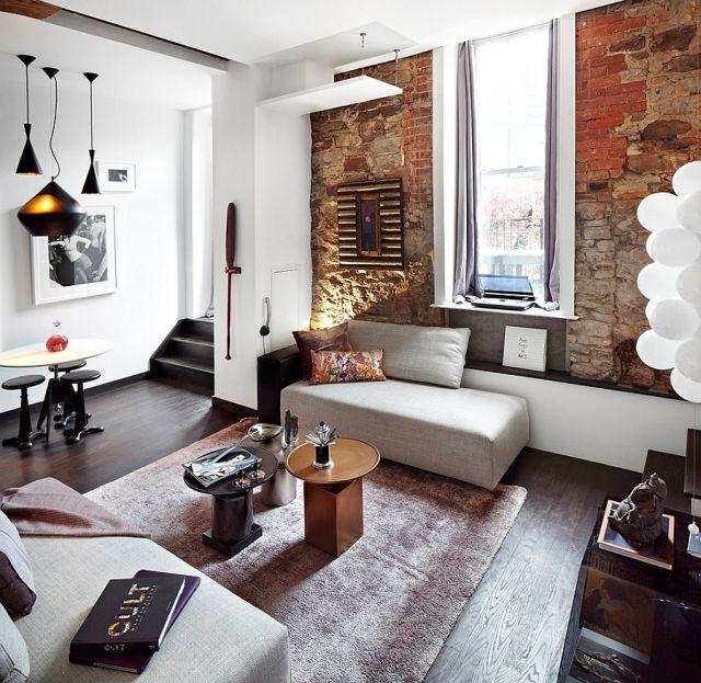 Wunderbar Wohnungseinrichtung Ideen Loft Wohnzimmer Neutrale Farben  Unverputzte Ziegelwand