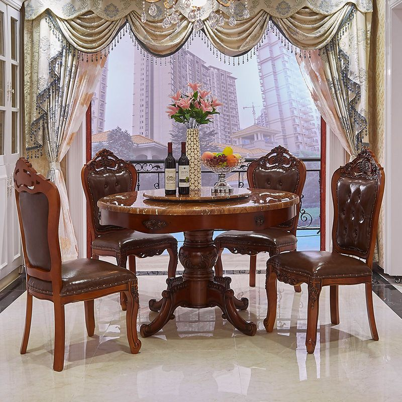 Luxury European French Style Wooden Round Classic Dining Table