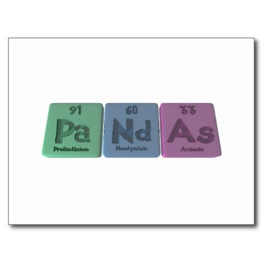 Very clever! - Pandas-Pa-Nd-As-Protactinium-Neodymium-Arsenic.png postcard- Zazzle