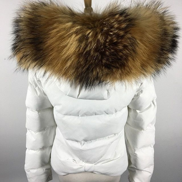 Luxury womens big fur Jacket thicken winter warm parka trench coat outwear 2018