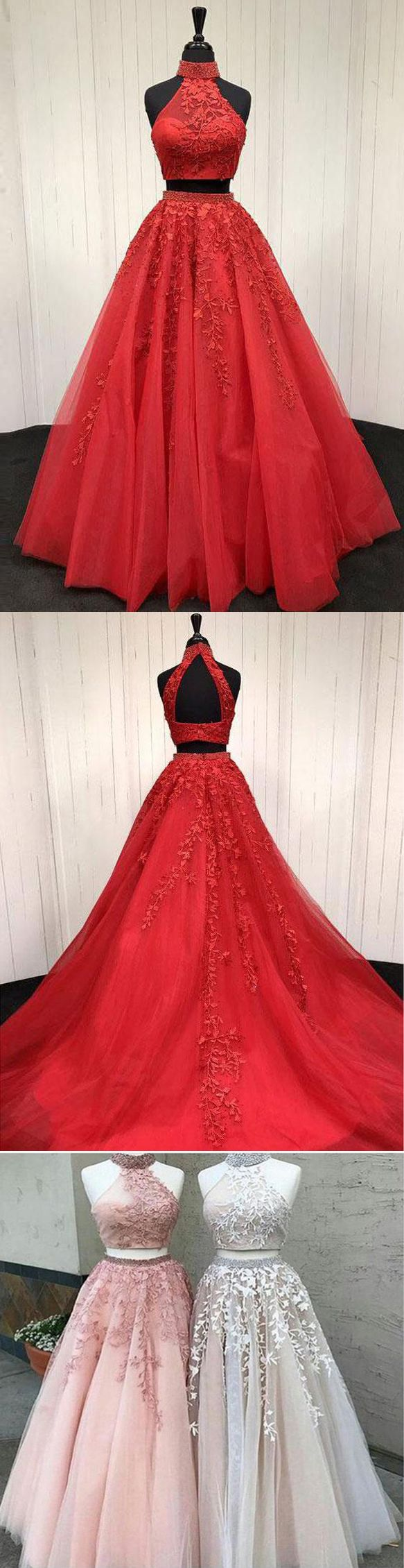 Fashion lace appliques backless pieces red prom dresses evening