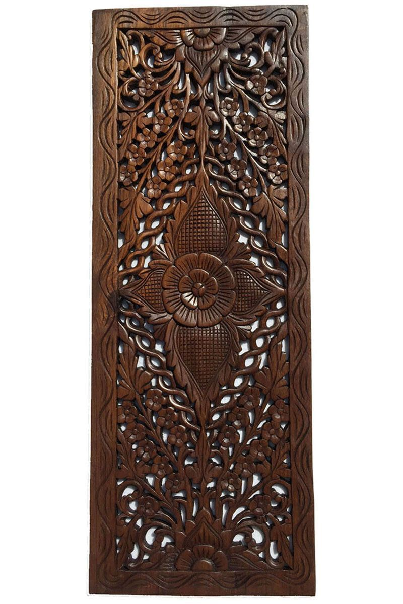 floral wood carved wall panel wall hanging asian home decor decorative contemporary wall - Home Decor Wall Hangings