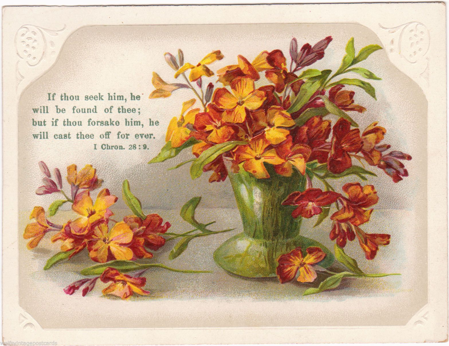 Vintage floral religious motto card w scripture bible quote i