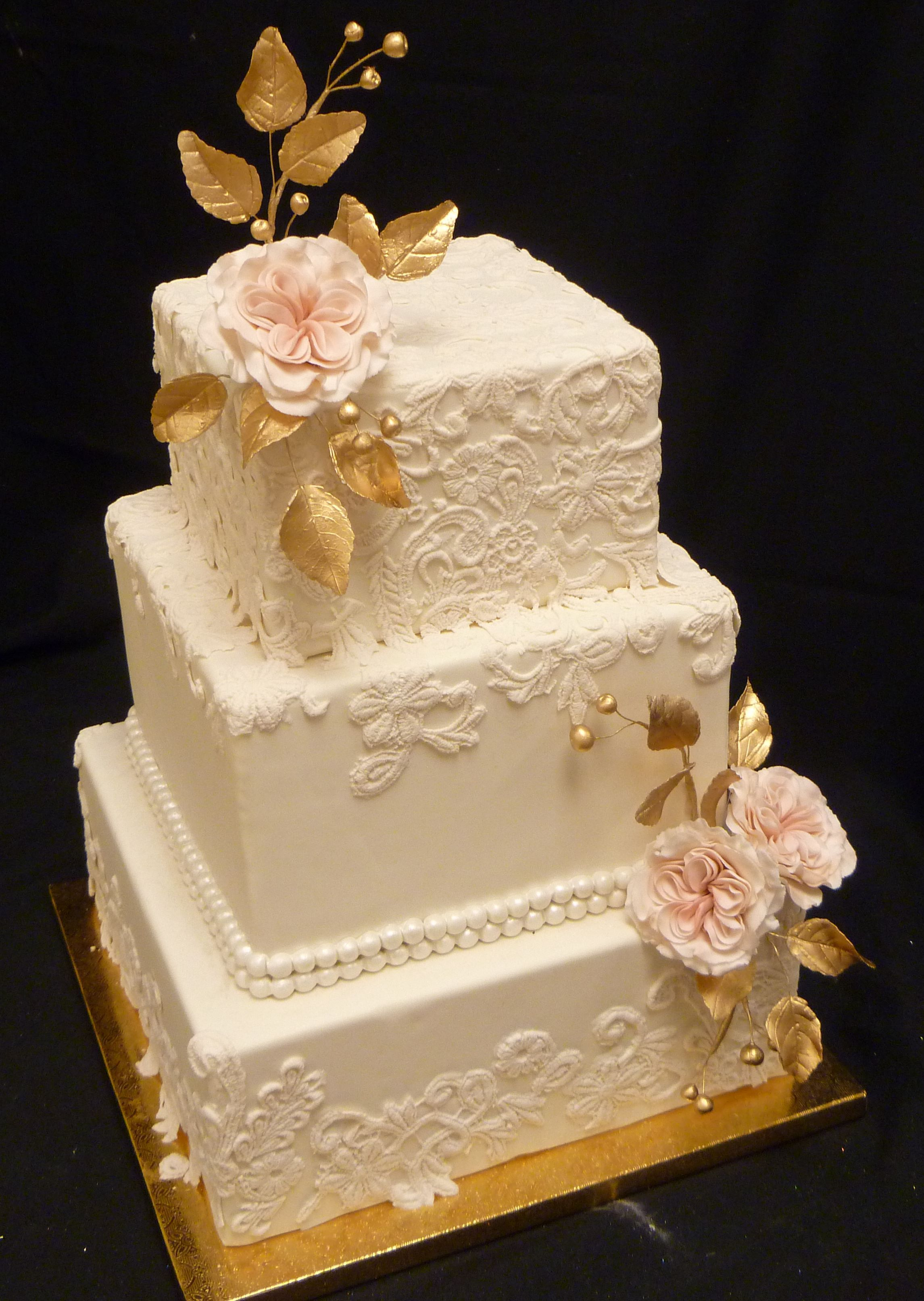 Elegant Gold And Lace Square Wedding Cake