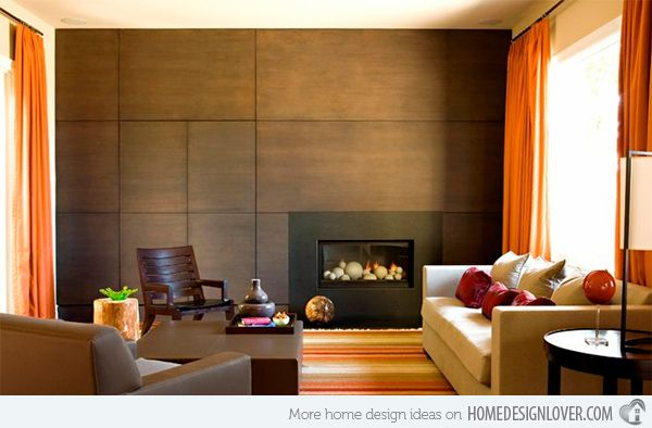 Lovely Wooden Panel Walls In 15 Living Room Designs Part 6